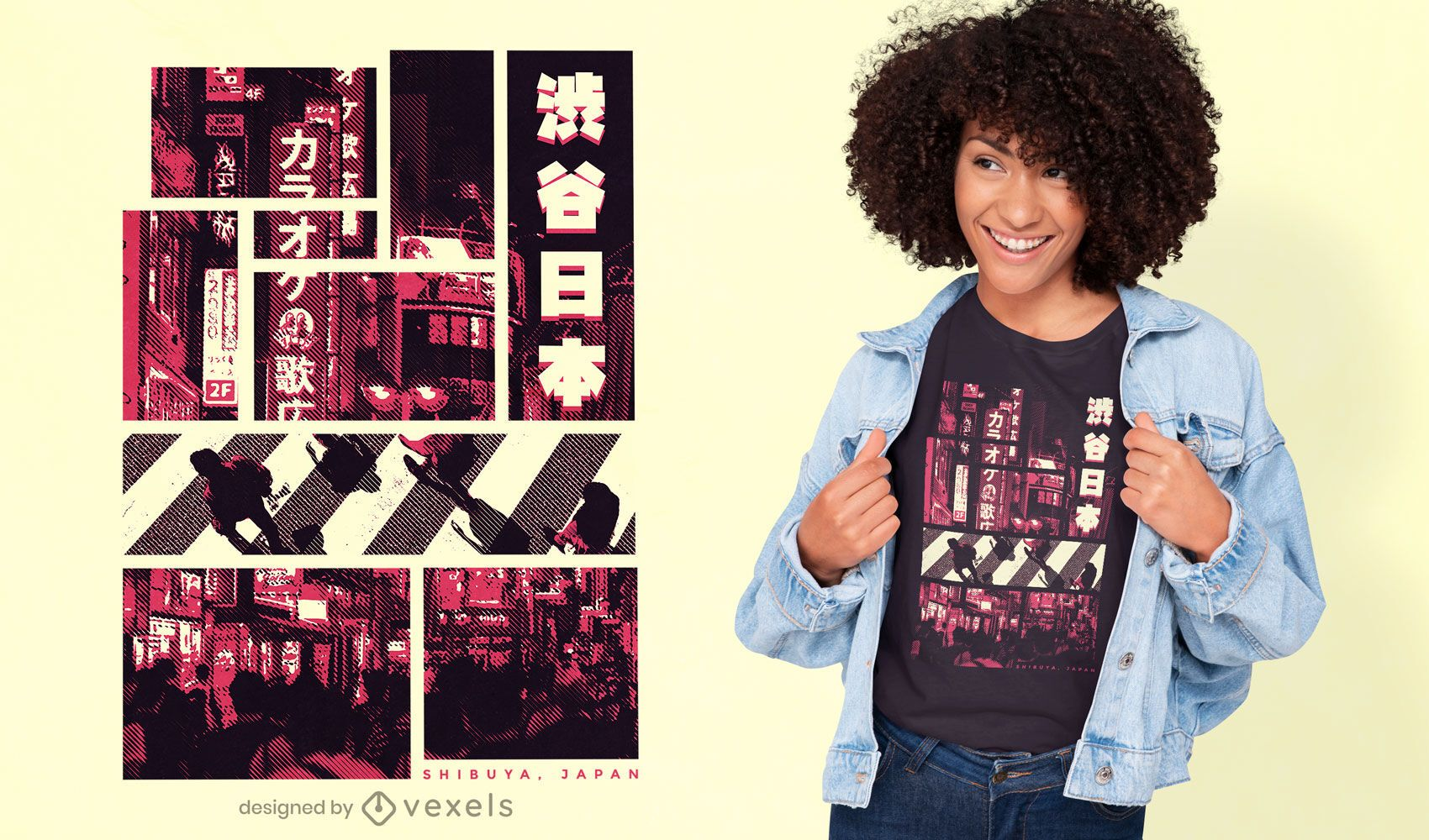 Rosa fotografisches Tokio-T-Shirt-Design