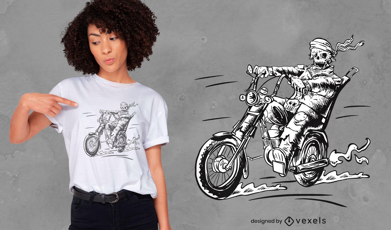 Diseño de camiseta dibujada a mano motociclista no muerto