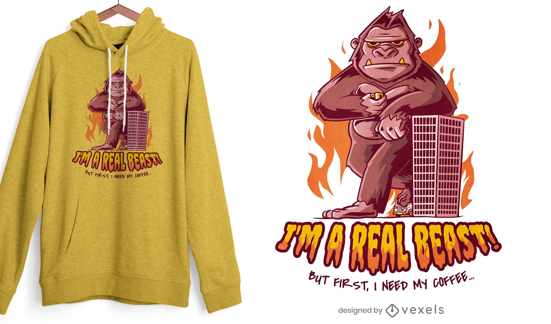 Diseño de camiseta de café de bestia gigante gorila