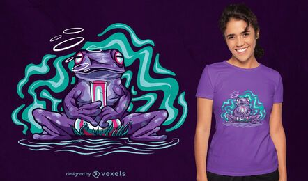 Diseño de camiseta de animal rana psicodélica.
