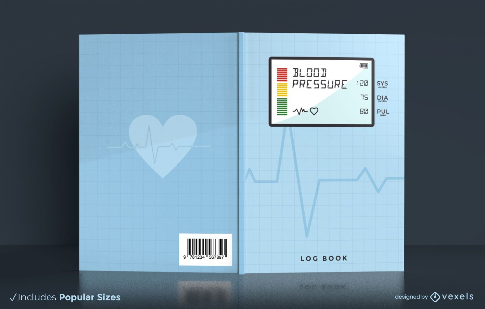 Diseño de portada de libro de registro de presión arterial de salud