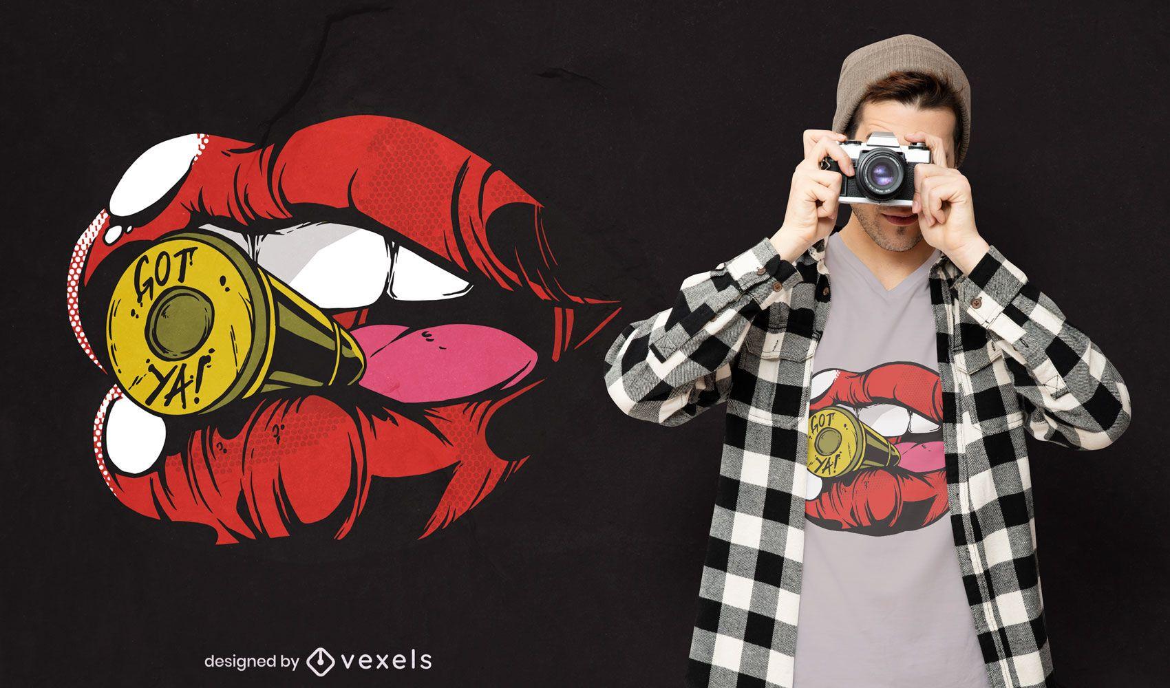 Bullet in lips t-shirt design