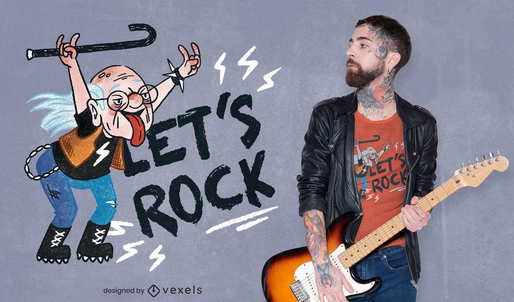 Grandfather rock and roll t-shirt design