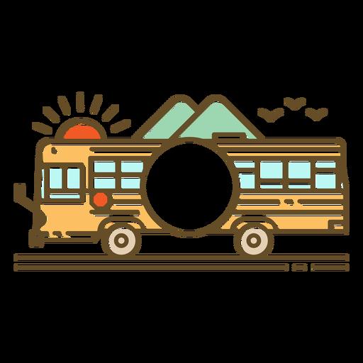 Side school bus in street round label