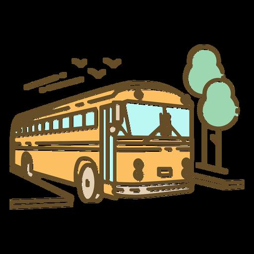 Vintage school bus in street color stroke