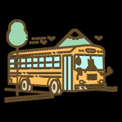 School bus in street color stroke