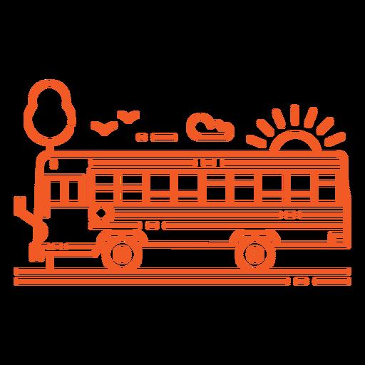Profile school bus in street stroke