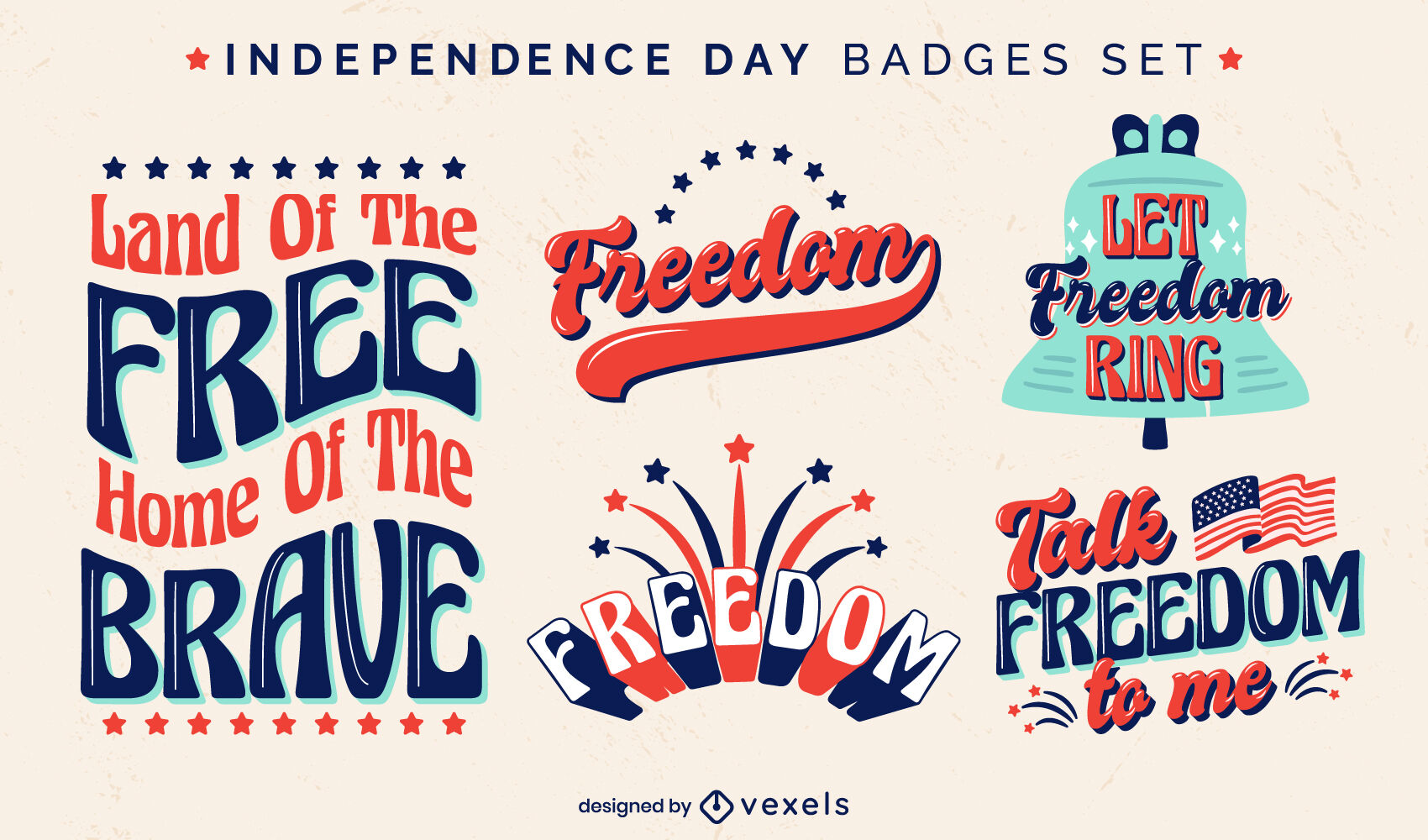 Conjunto de insignias retro de vacaciones del día de la independencia