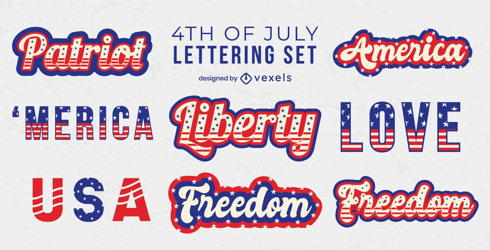 4th of july set of lettering elements