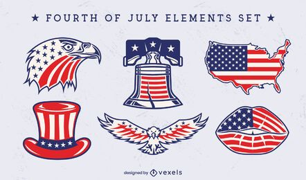 Independence day set of iconic elements
