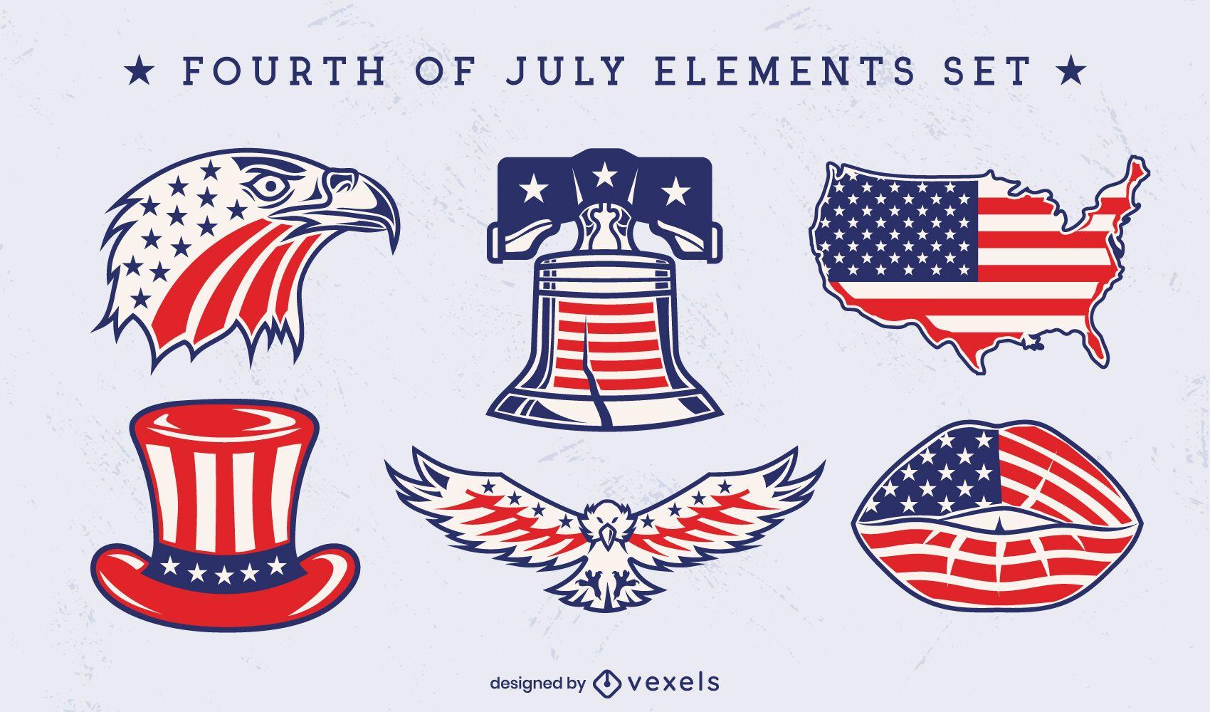 Conjunto de elementos icónicos del día de la independencia