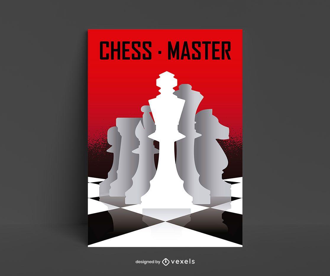 Diseño de cartel de silueta de piezas de juego de ajedrez