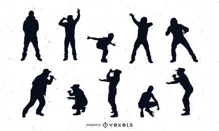 Pacote de silhueta de cantores de rap