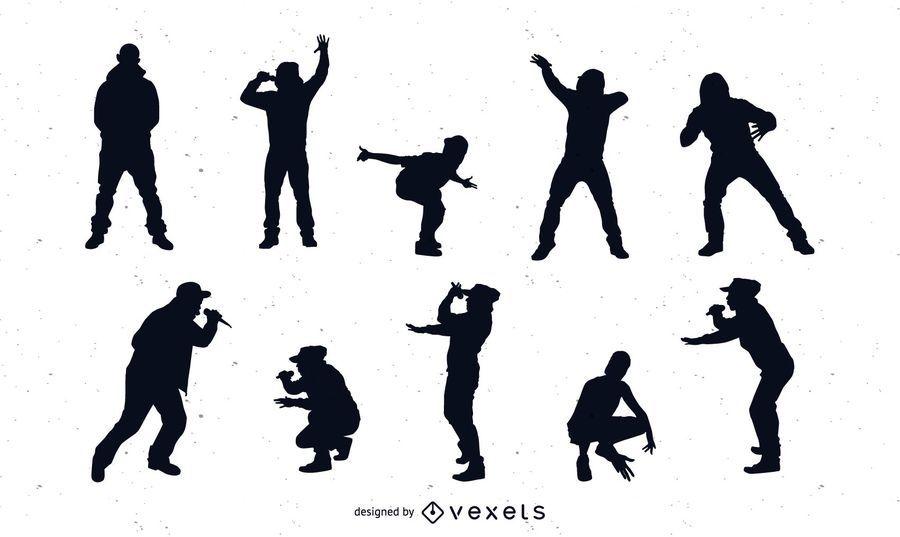 Pack de silueta de cantantes de rap