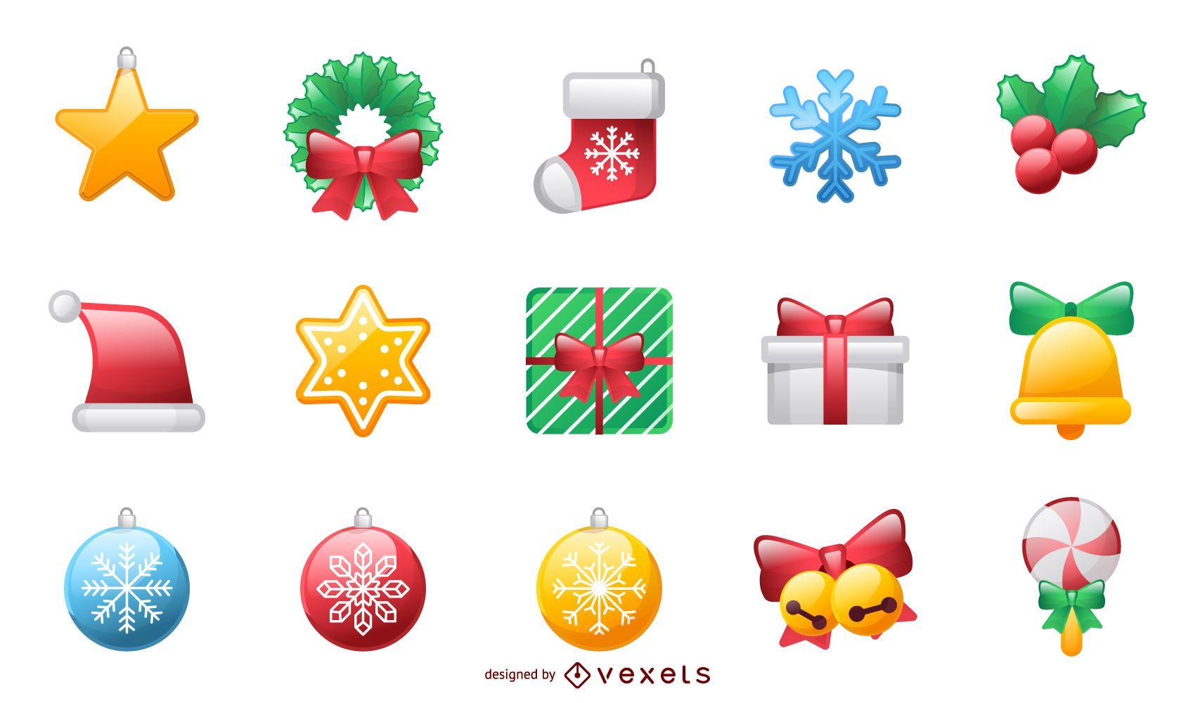Iconos de Navidad y vacaciones brillantes