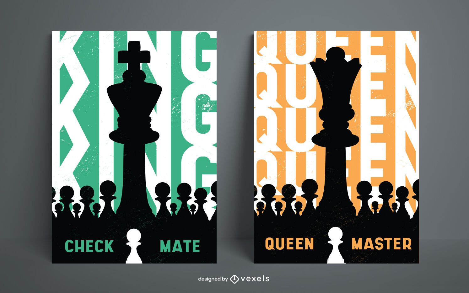 Chess king and queen game pieces poster design