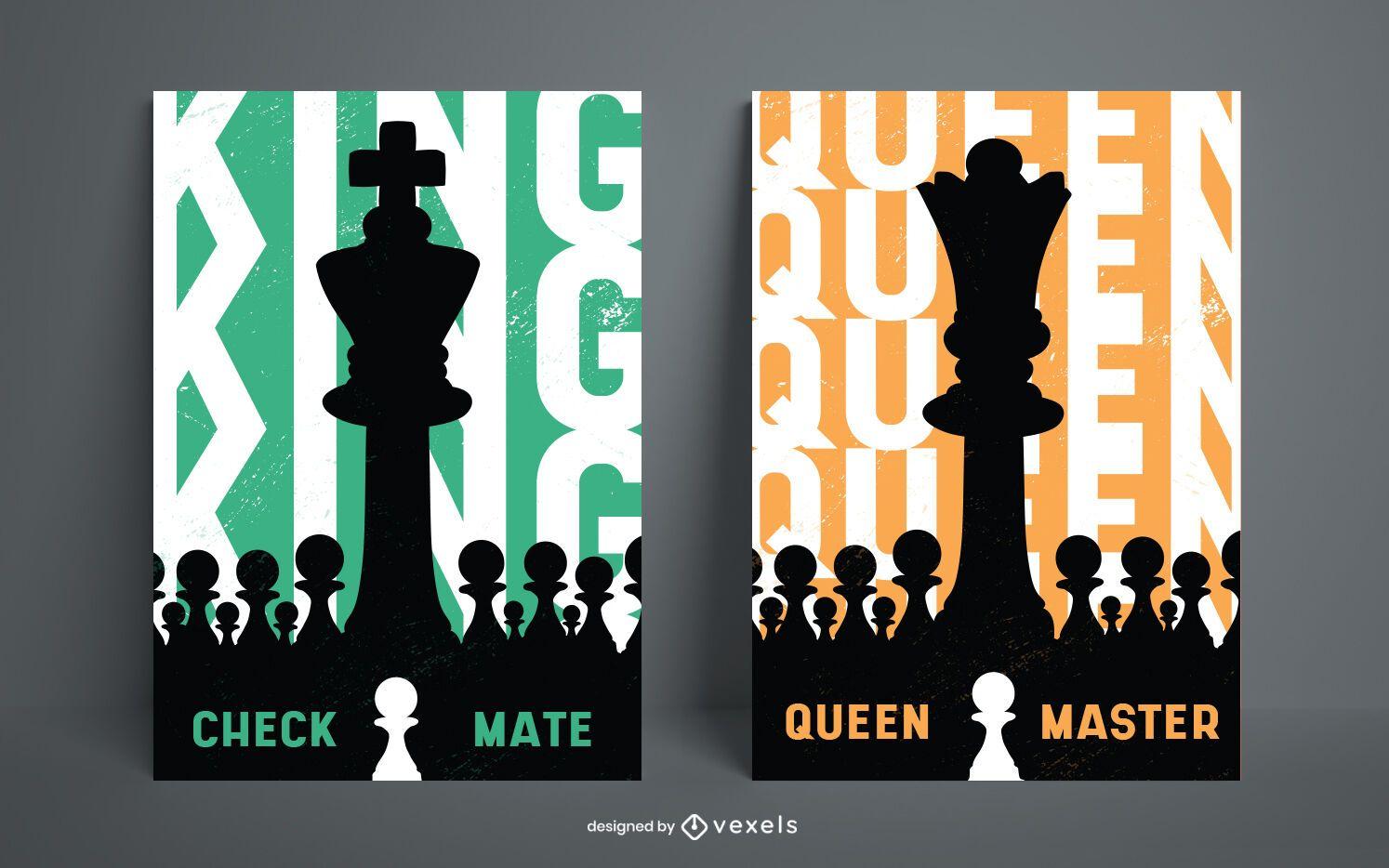 Diseño de carteles de piezas de ajedrez rey y reina.
