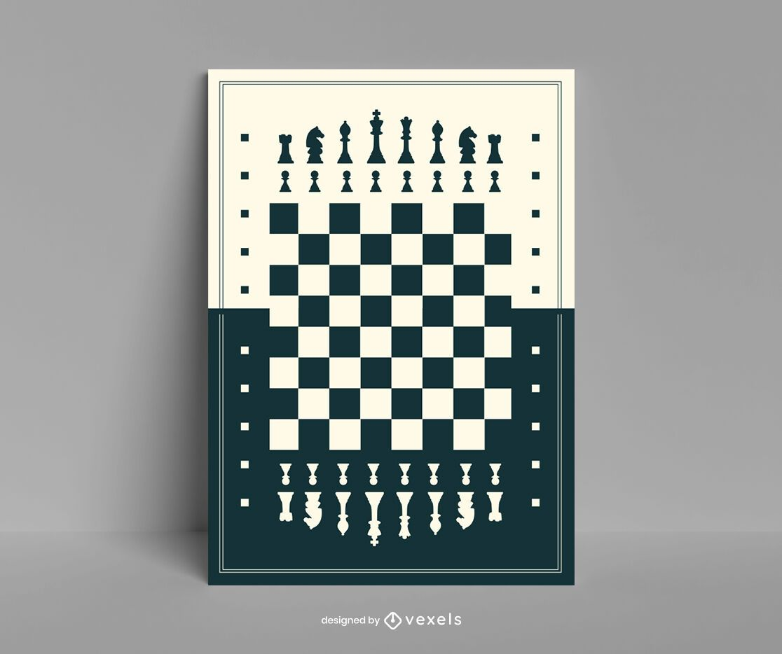 Chess board flat poster template
