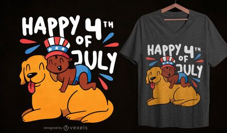 Baby and dog fourth of july t-shirt design