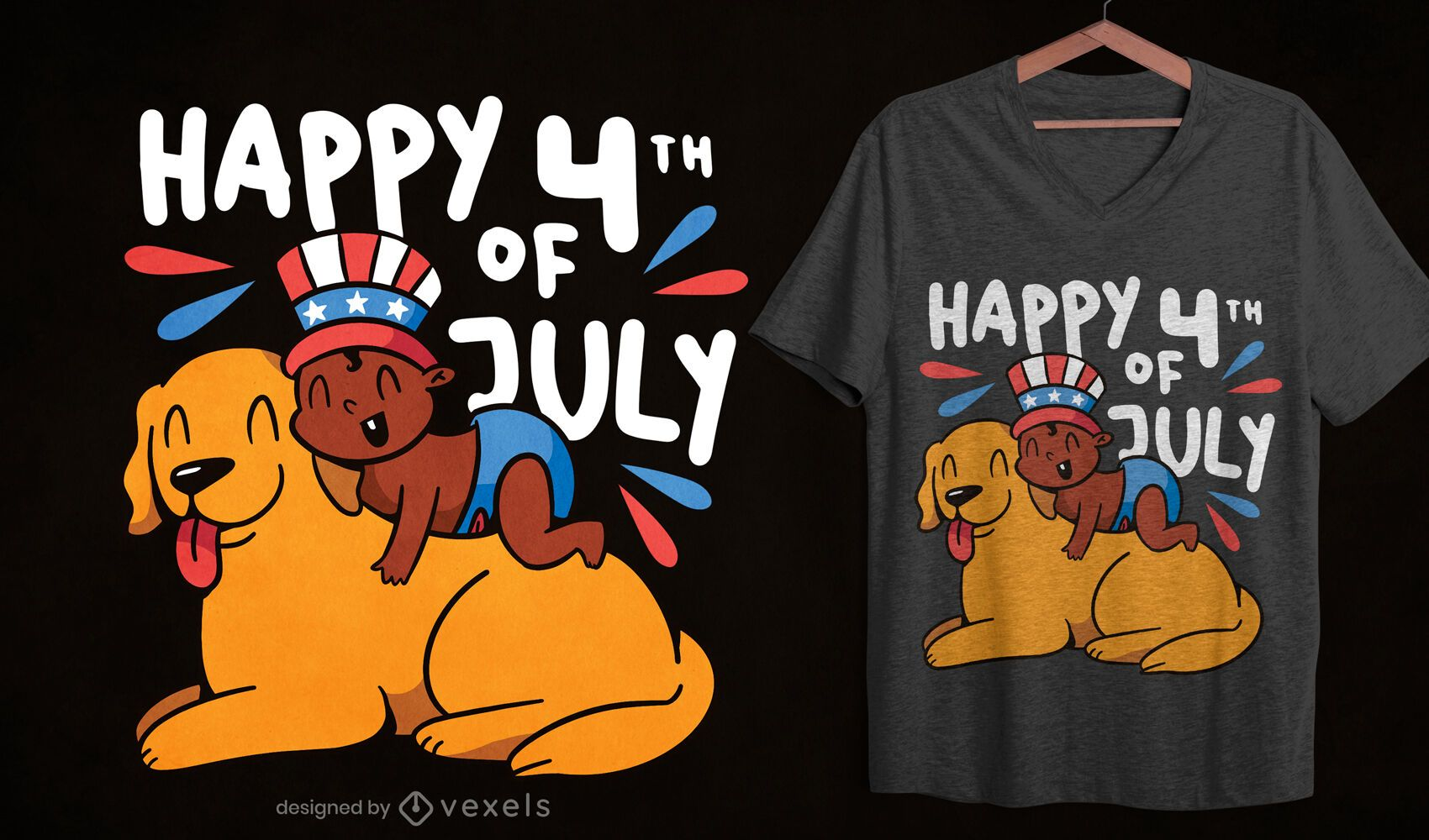 Diseño de camiseta de bebé y perro cuatro de julio.