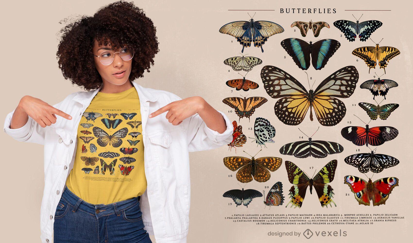 Butterflies catalog psd t-shirt design