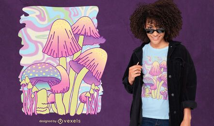 Mushrooms psychedelic nature t-shirt design
