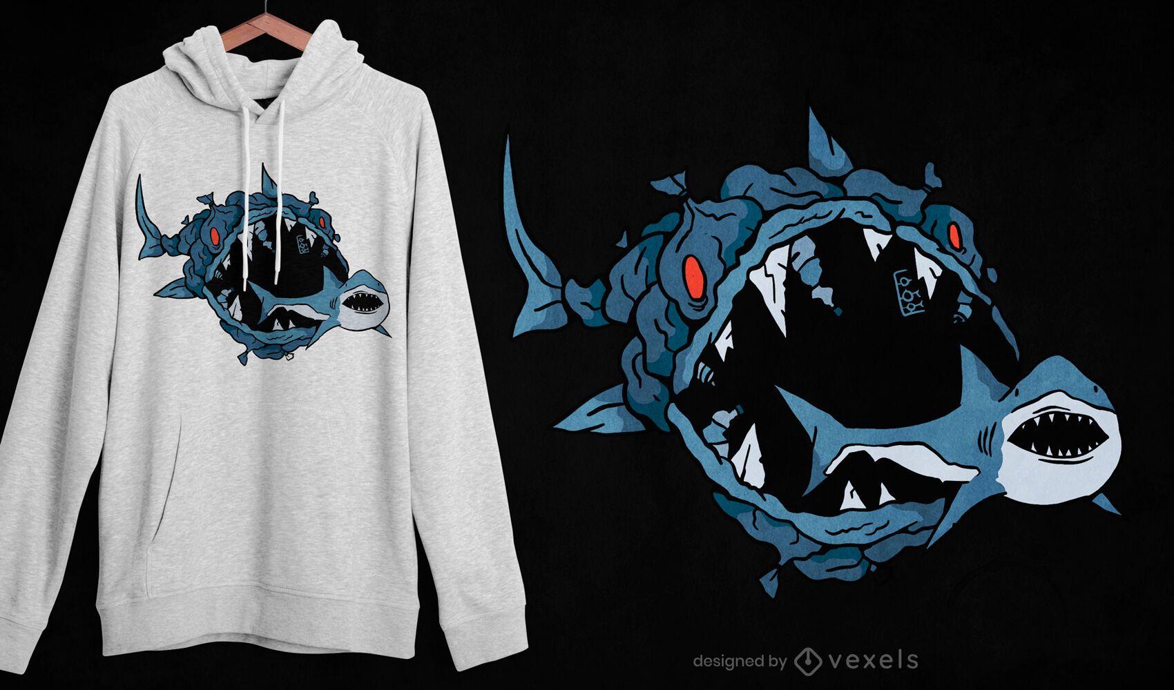 Projeto de camiseta de peixe-monstro comendo tubarão