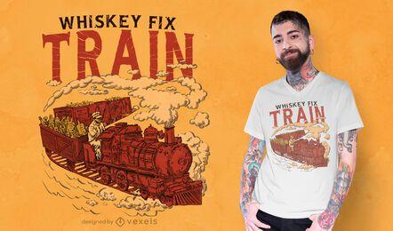 Funny whiskey fix train t-shirt design