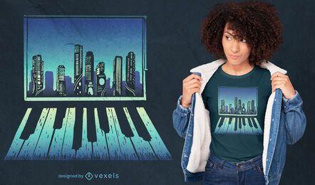 Diseño de camiseta de reflexión de ventana de piano.