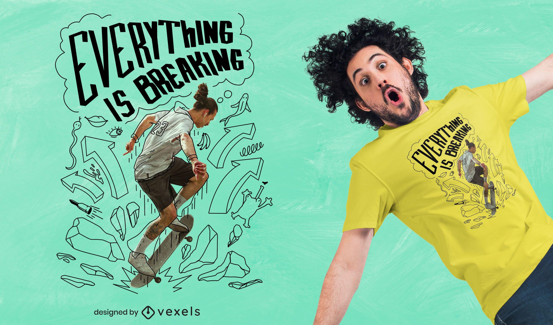 Skate doodle quote psd t-shirt design