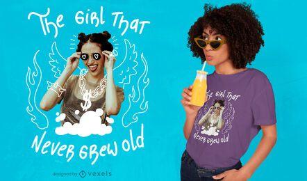 Girl never grow psd t-shirt design