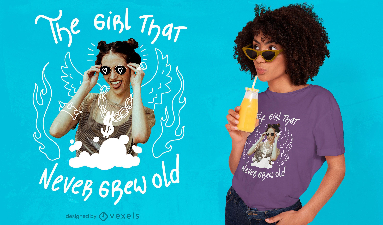 Chica nunca crece diseño de camiseta psd