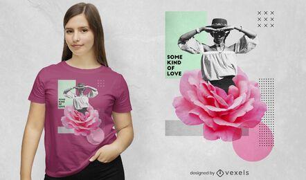 T-shirt de colagem de fotografia de mulher flor psd