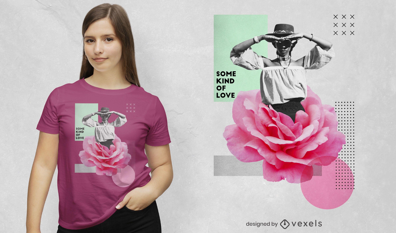 Camiseta de collage de fotografía de mujer de flores psd