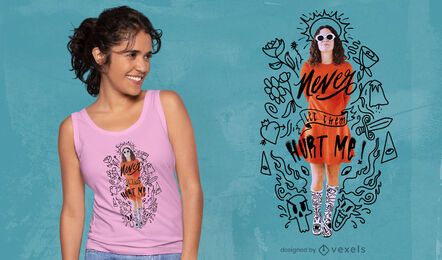 Woman with cute doodles t-shirt psd