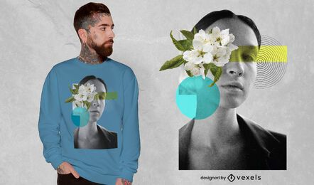 Woman floral collage t-shirt psd
