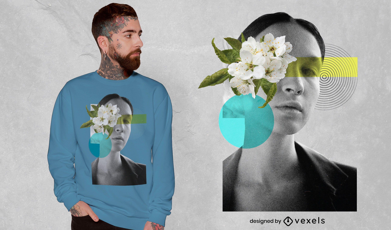 Camiseta feminina com colagem floral psd
