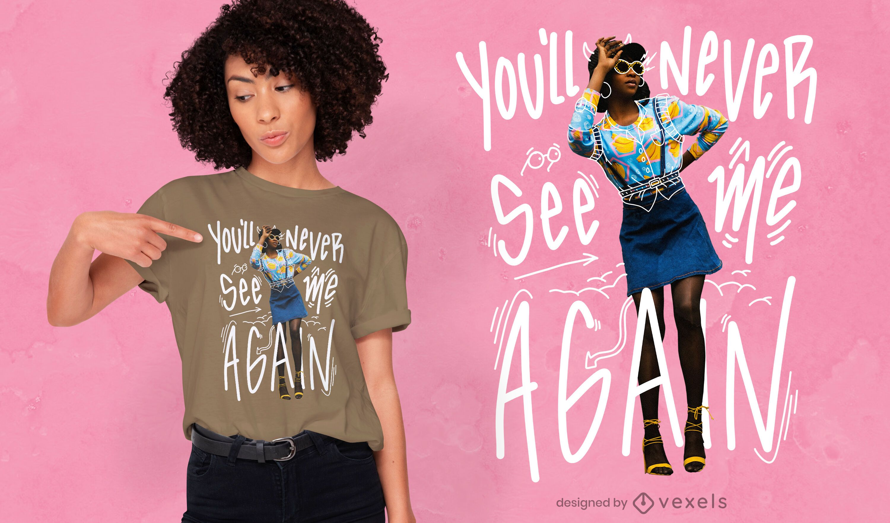 Doodle quote photographic t-shirt psd
