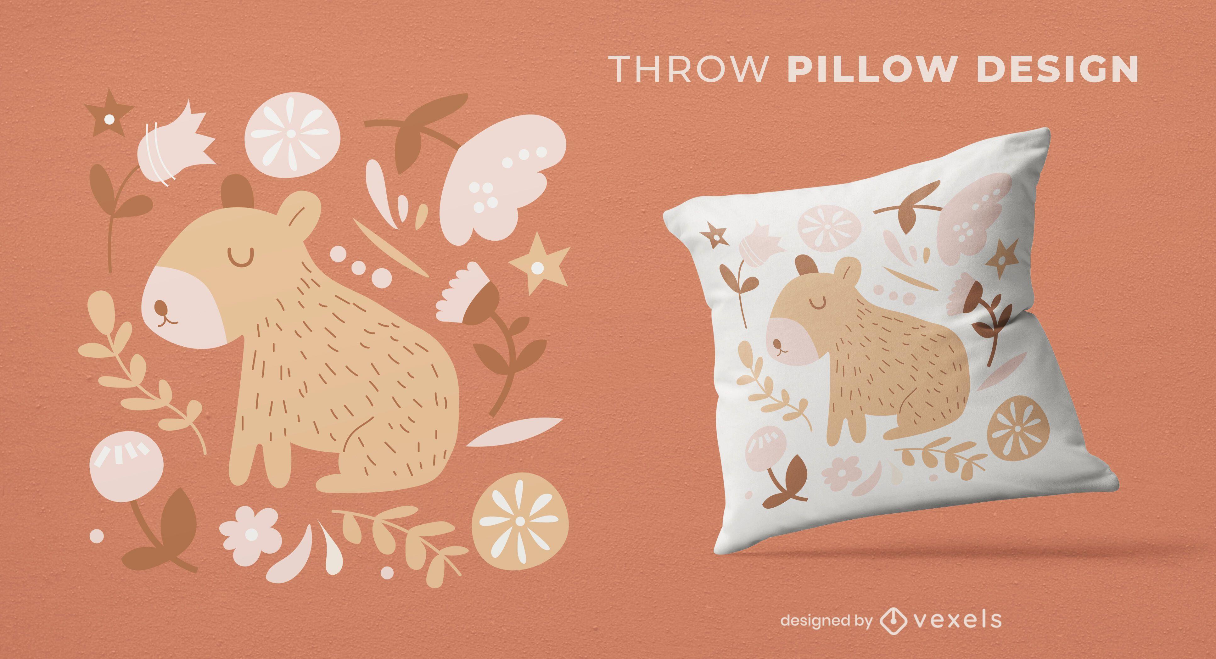 Capybara baby animal throw pillow design