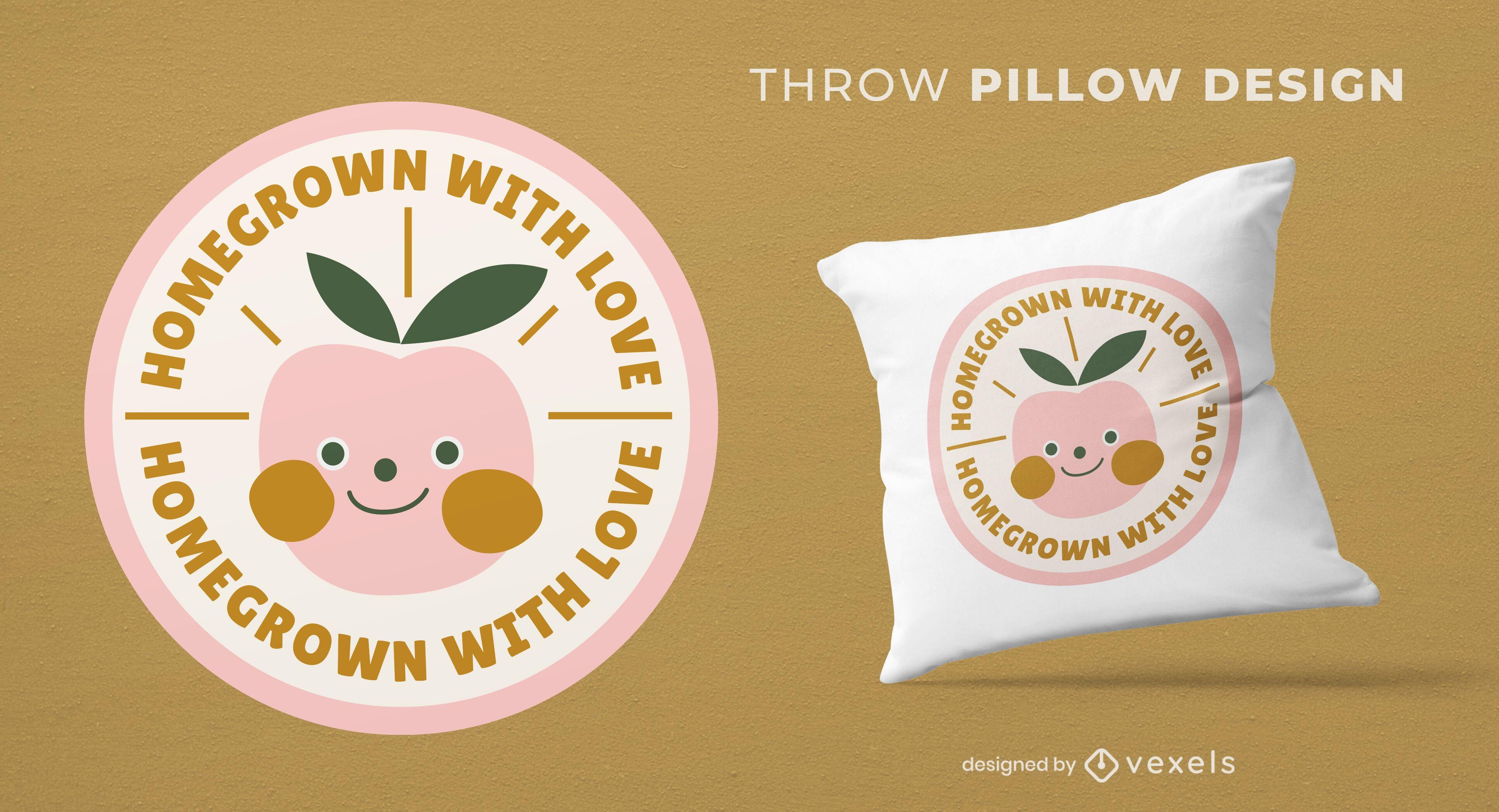 Peach baby fruit throw pillow design
