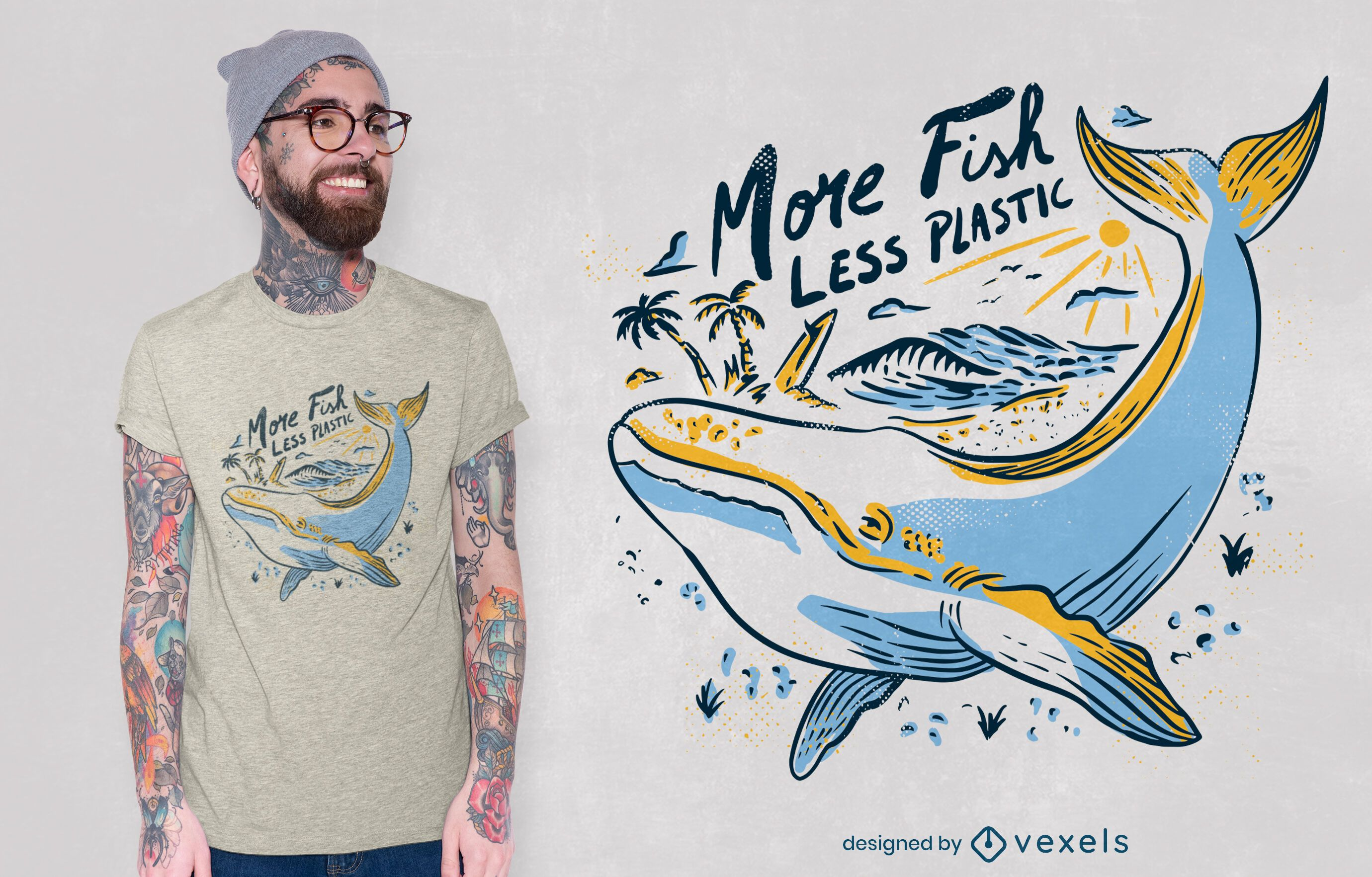 Whale swimming line art t-shirt design