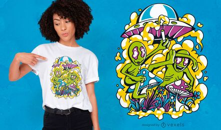 Aliens on psychedelic mushrooms t-shirt design