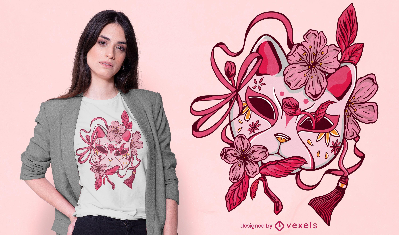 Cherry blossom japanese mask t-shirt design