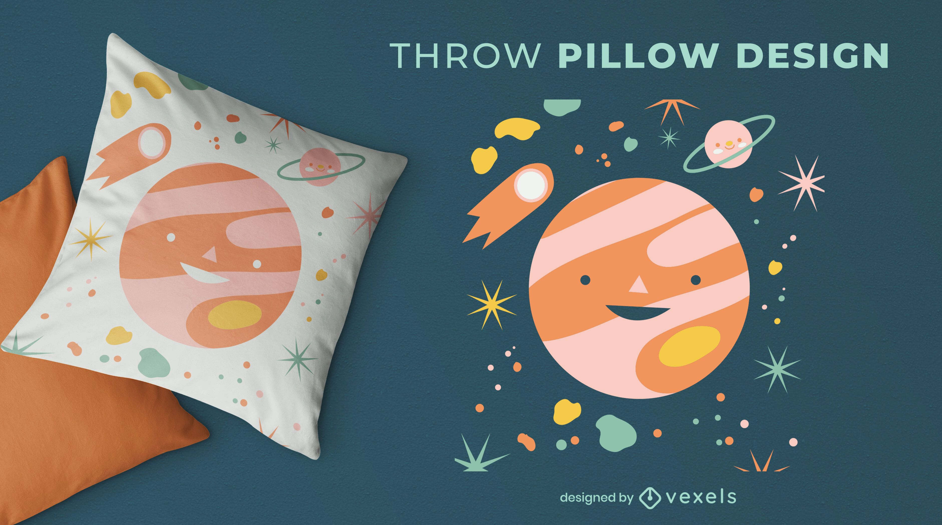 Planet space elements throw pillow design