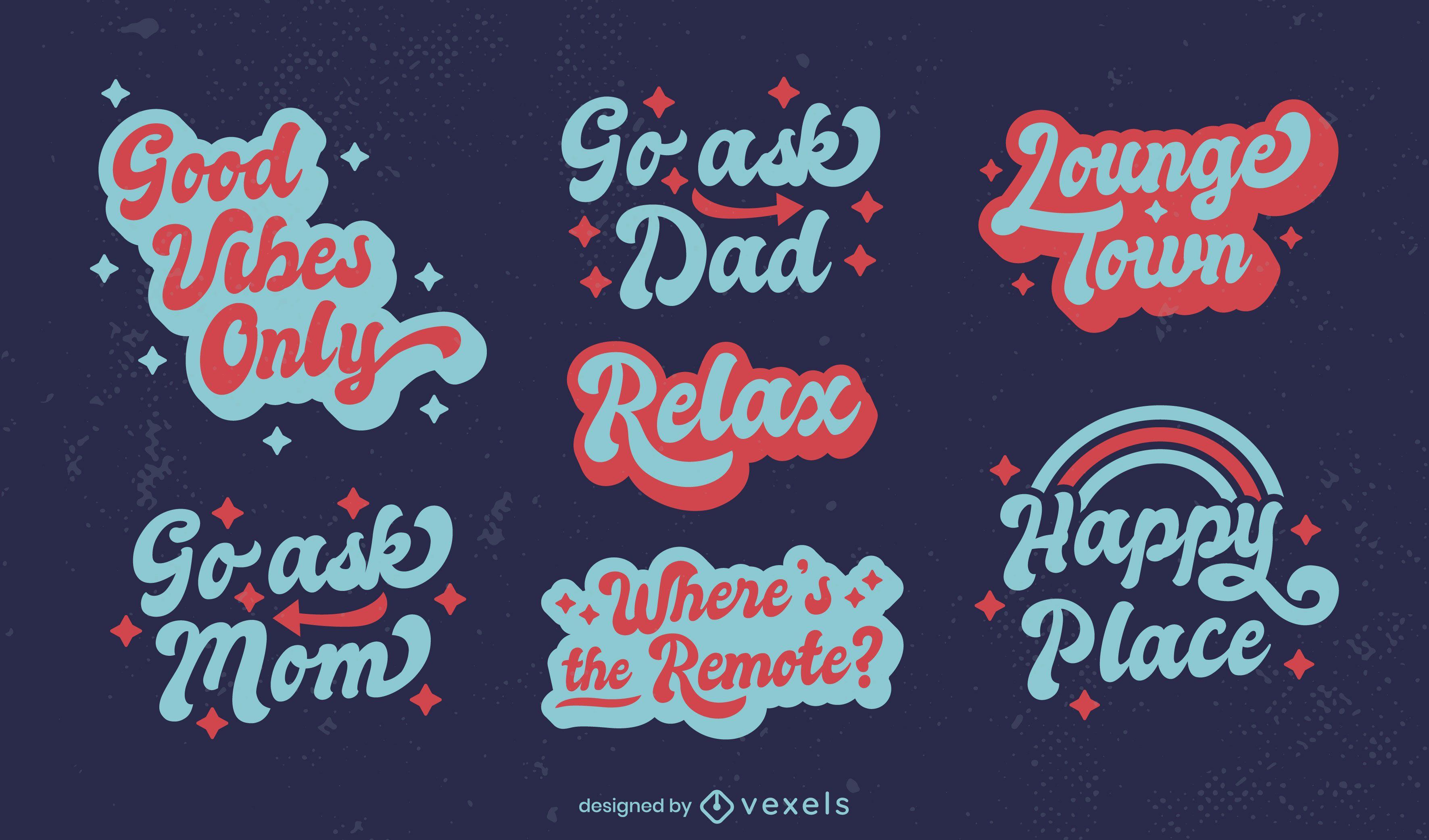 Relaxing lettering badges set