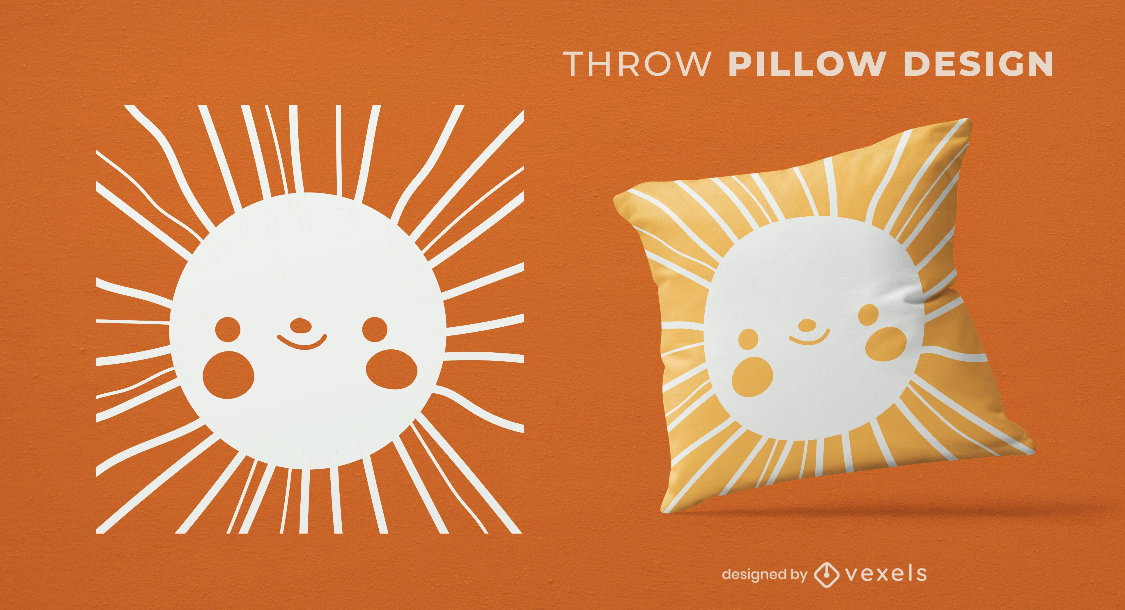 Design de almofadas solares para rosto feliz