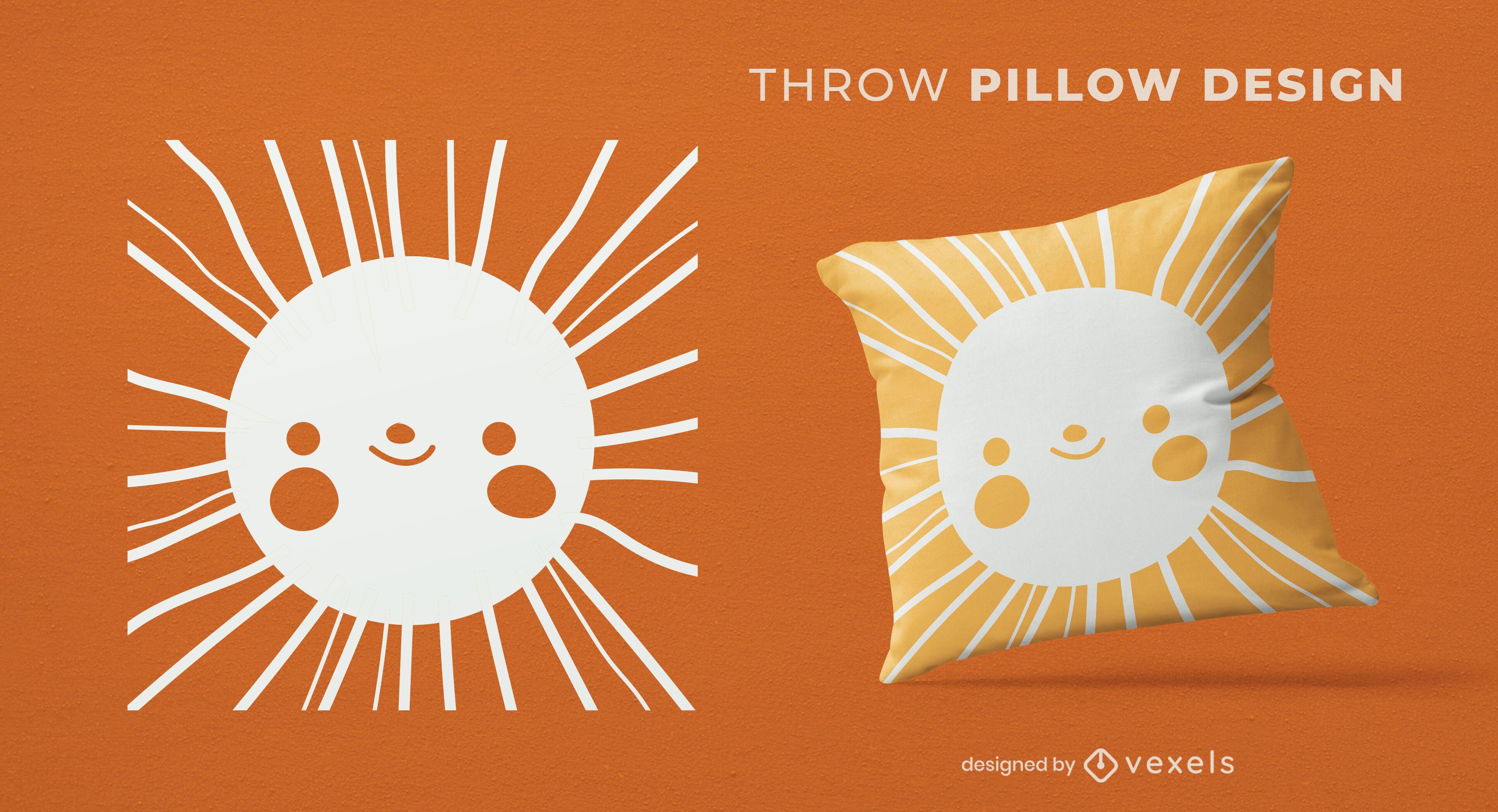 Diseño de almohada de tiro de cara feliz de sol