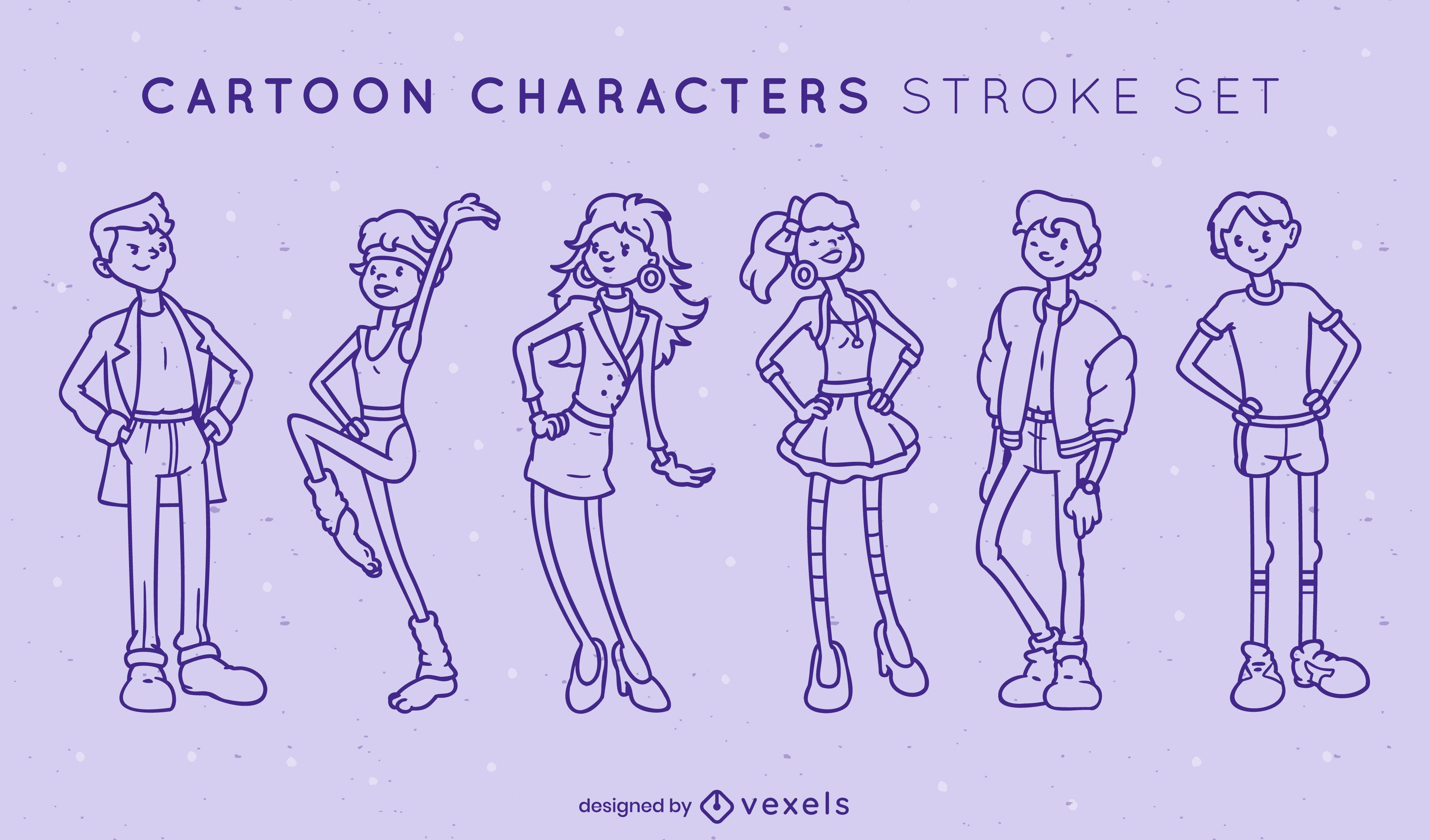 Conjunto legal de traços de personagens de desenhos animados