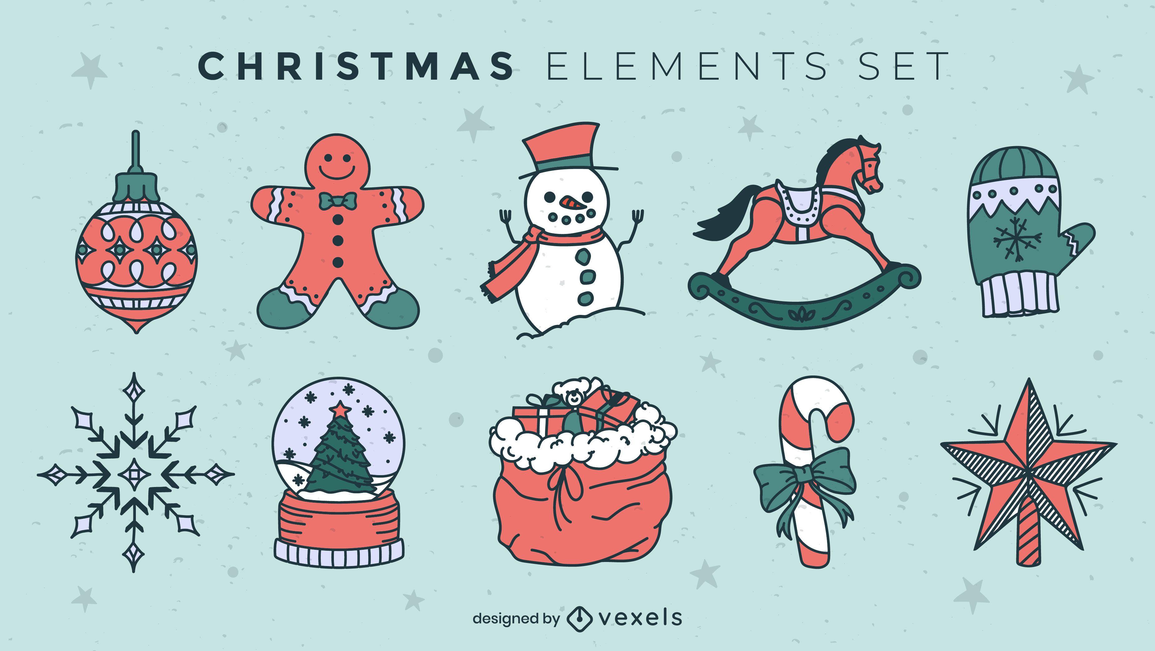 Conjunto de elementos navideños de trazo de color