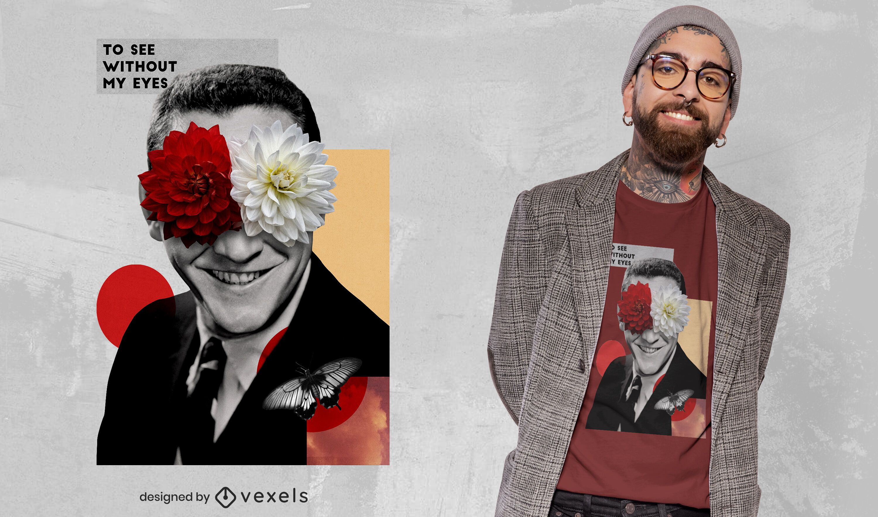 Man with flowers collage psd t-shirt design